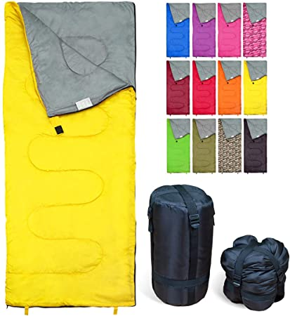 REVALCAMP Sleeping Bag Indoor & Outdoor Use. Great for Kids, Boys, Girls, Teens & Adults. Ultralight and Compact Bags are Perfect for Hiking, Backpacking & Camping - Yellow