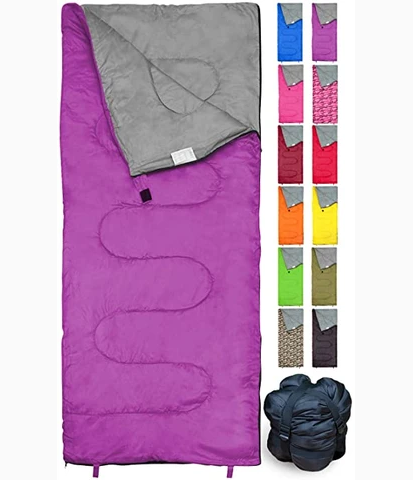 REVALCAMP Sleeping Bag Indoor & Outdoor Use. Great for Kids, Boys, Girls, Teens & Adults. Ultralight and Compact Bags are Perfect for Hiking, Backpacking & Camping - Violet
