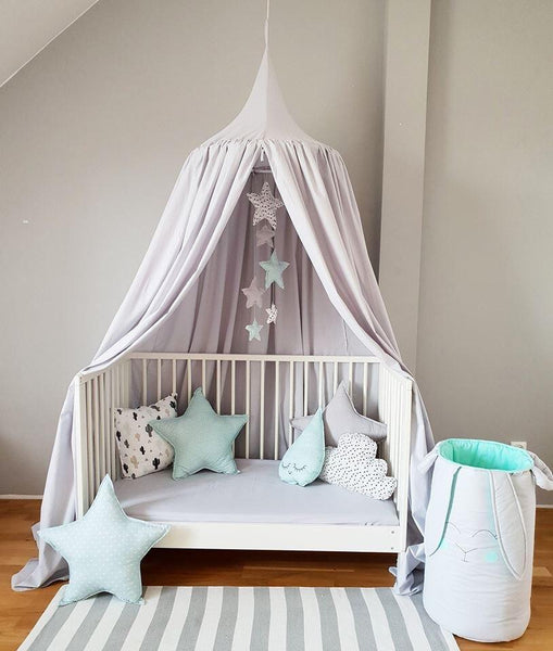 Handmade Light Grey Baldachin Bed Canopy Set-Bed Canopy-BabyUniqueCorn