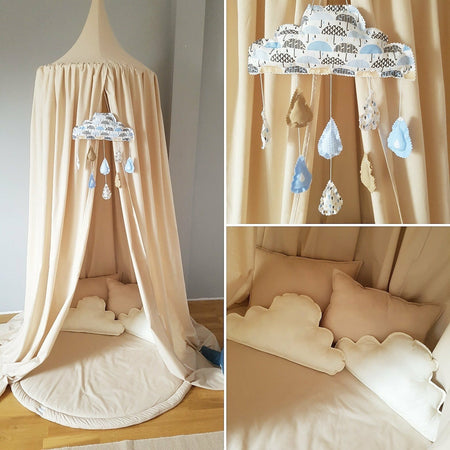 Handmade White Baldachin Bed Canopy Set