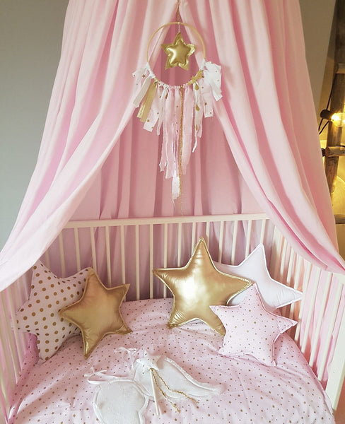Handmade Pink Baldachin Bed Canopy Set-Bed Canopy-BabyUniqueCorn