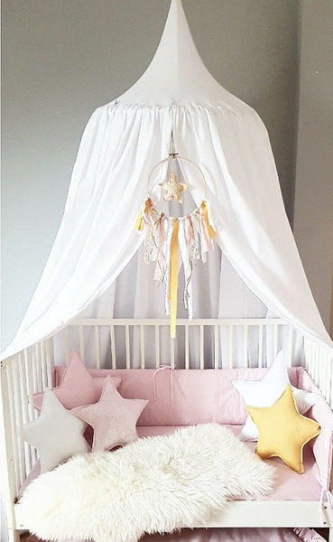 Handmade White Baldachin Bed Canopy Set-Bed Canopy-BabyUniqueCorn