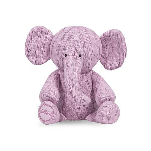 Jollein Cable Elephant Soft Toy Pink-Soft Toy-BabyUniqueCorn