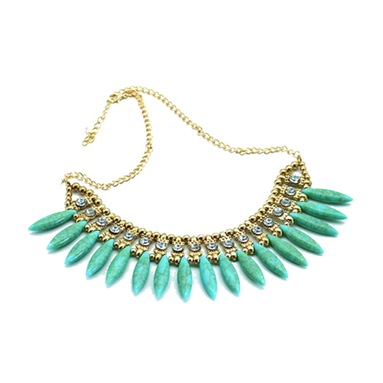 f8a0642134 Women Vintage Fashion Crystal Bib Statement Pendant Necklace Statement  Jewelry ...