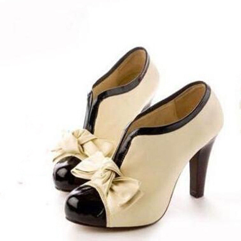 Arrive 2016 New Bow Heel Pump Shoes High Sexy Lady Beige CsdxhtBQr