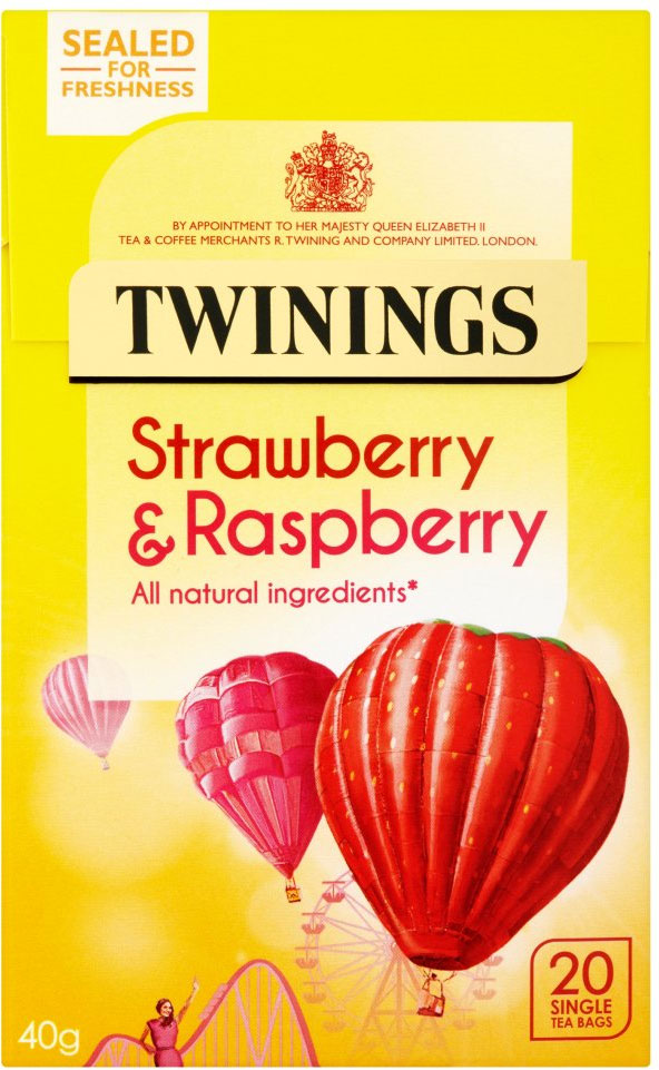 Twinings Strawberry & Raspberry Tea Bags 20 per pack - Pack of 2