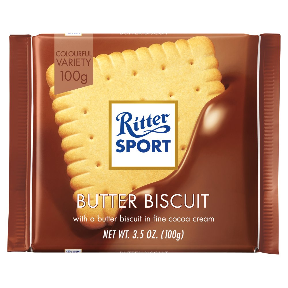 Ritter Sport Milk Chocolate with Butter Biscuit 3.5 oz each (6 Items Per Order)