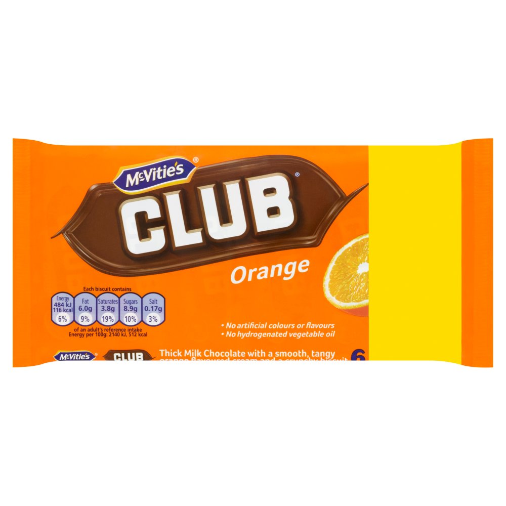 McVitie's Club Orange Chocolate Biscuits Bars (6 2g)