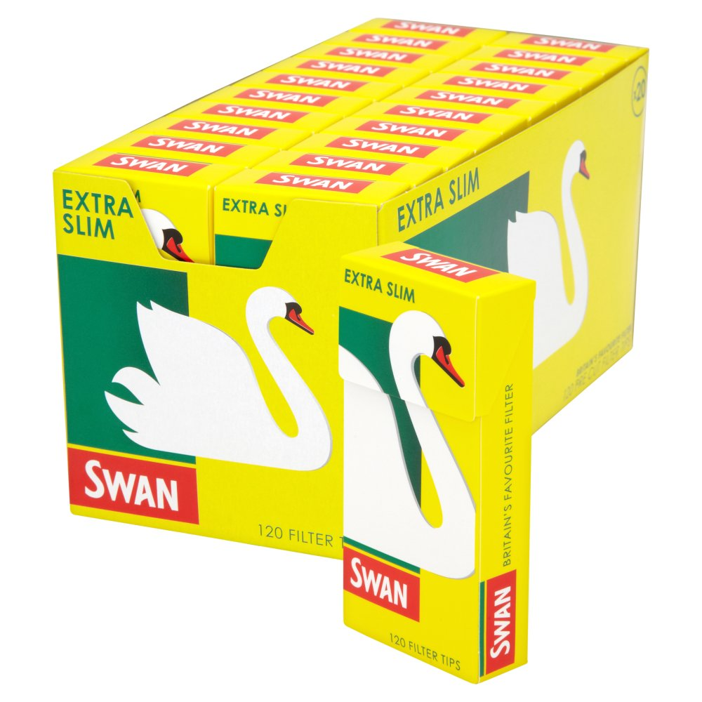 Swan Ultra Slim Silver Precut Filter Tips Full Box Of 20 by Rizla