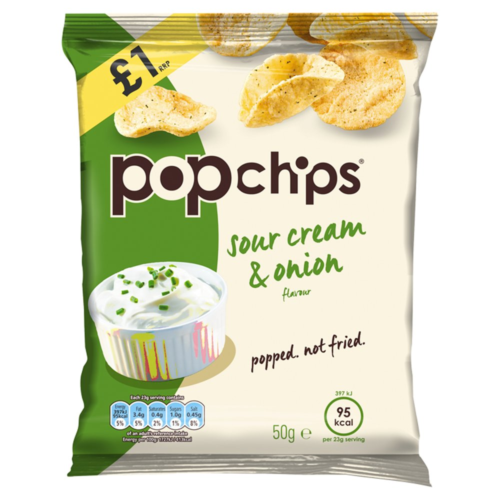 Popchips Sour Cream & Onion Flavour Popped Potato Chips 50g