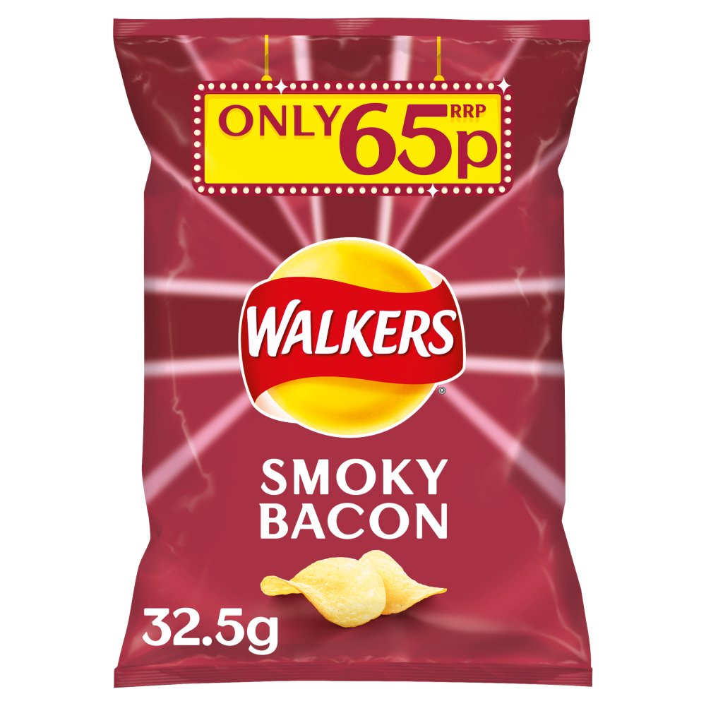 Walkers Smoky Bacon Crisps 32.5 g (Pack of 48)