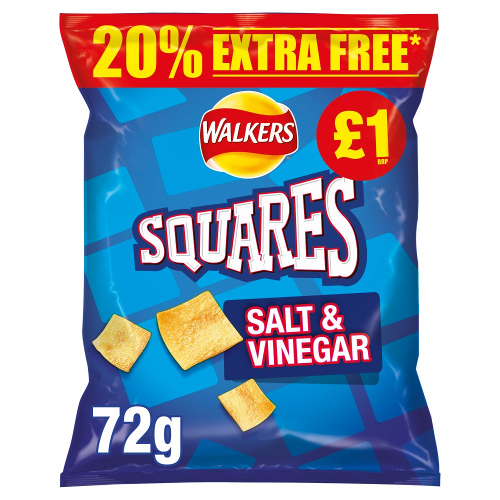 Walkers Squares Salt & Vinegar Snacks  60g