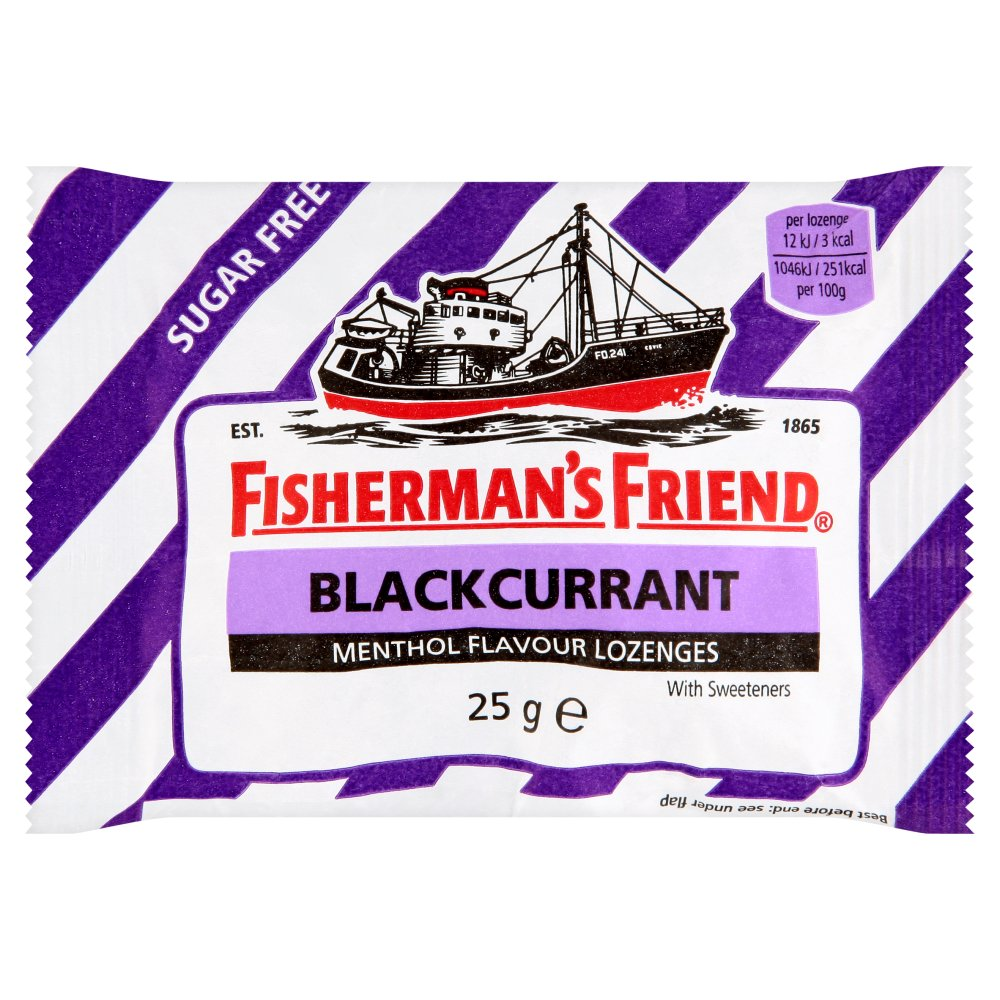 Fisherman's Friend Blackcurrant Flavour Lozenges Sugar Free Candy 25g. (Pack of 6)