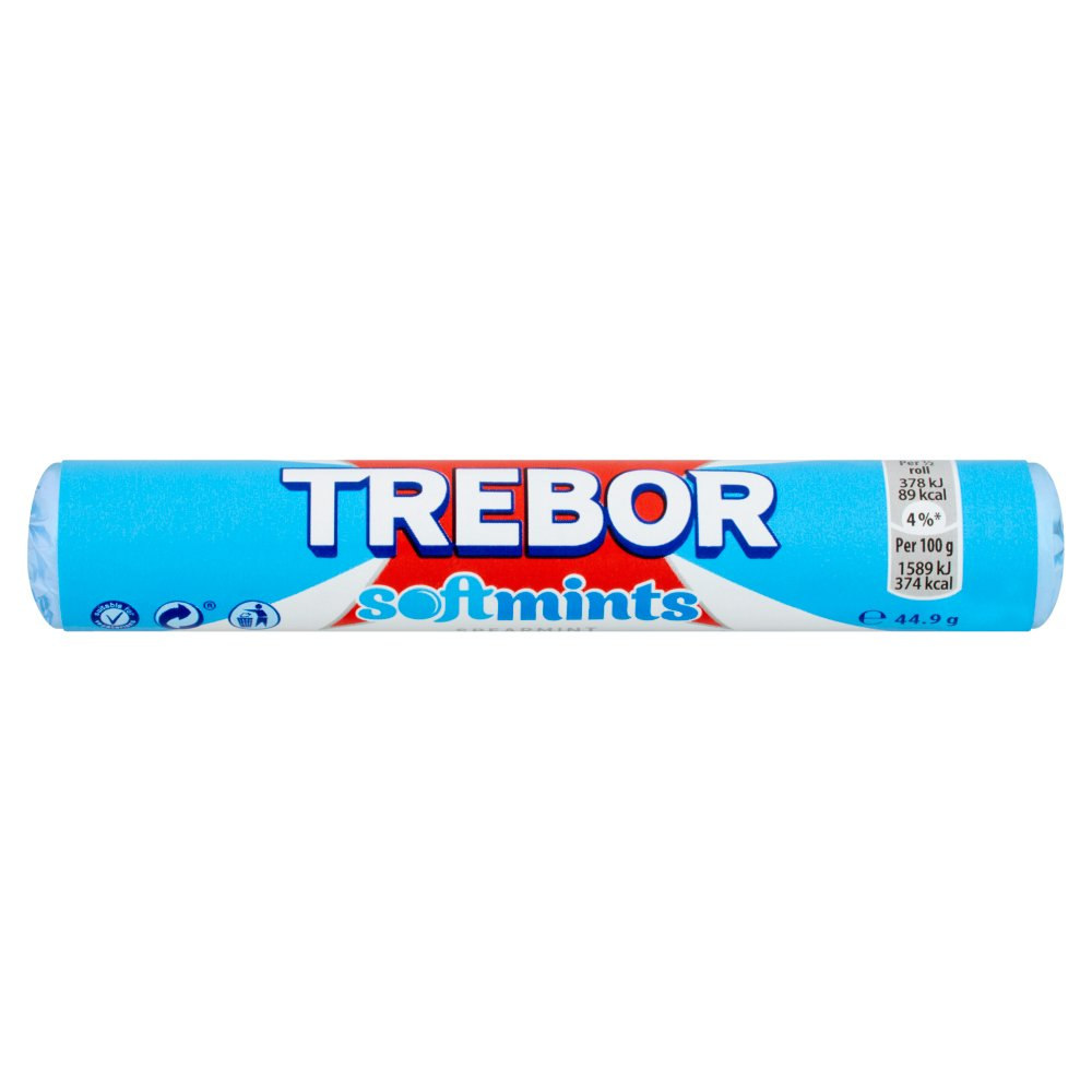 Trebor Spearmint Soft Mint - 44.9g - Pack of 12 (44.9g x 12 Sticks)