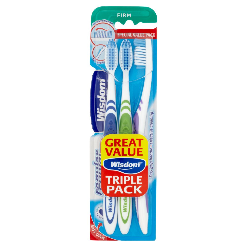 Wisdom Regular Plus Triple Pack - Firm Toothbrush