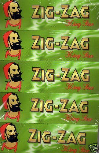 Sampler Pack - 5 Packets Zig Zag Green King Size cigarette rolling papers