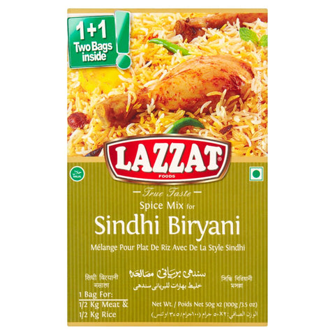 Lazzat Foods True Taste Spice Mix for Sindhi Biryani (2 x 50g)