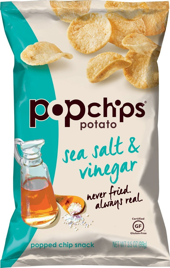Popchips Potato Chips, Sea Salt and Vinegar, 3.5 Ounce (Pack of 12) Size: 3.5 Ounce (Pack of 12)