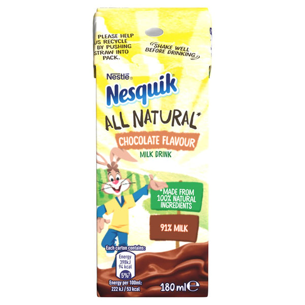 Nesquik All Natural Chocolate Milkshake Drink Carton 180ml