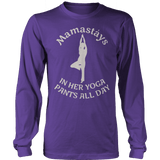 Mamastays In Her Yoga Pants All Day Ladies Long Sleeve Purple