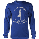 Mamastays In Her Yoga Pants All Day Ladies Long Sleeve Royal Blue