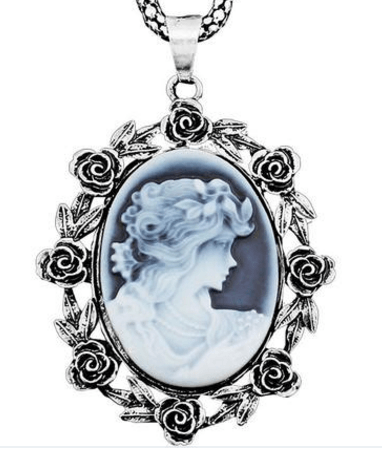 Vintage Look Silver Plated Rose Cameo Pendant Necklace