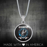 Scorpio - Zodiac Necklace Circular with Snake Chain