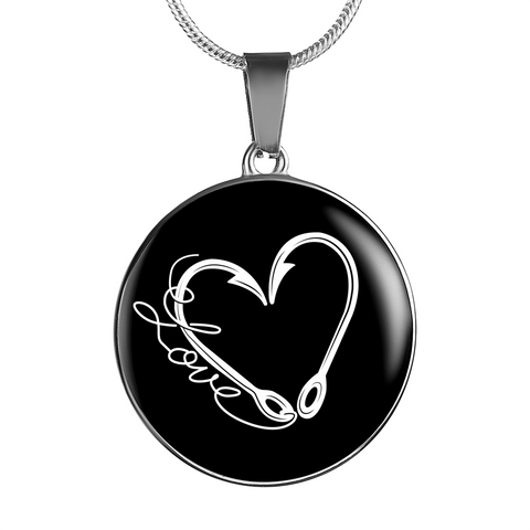 Fish Hook Heart  - Circular Charm - Necklace