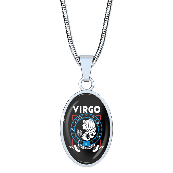 Virgo - Zodiac Necklace Oval with Snake Chain