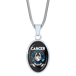 Cancer - Zodiac Necklace Oval with Snake Chain