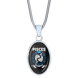 Pisces - Zodiac Necklace Oval with Snake Chain