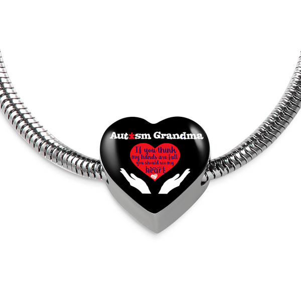 Autism Grandma - Heart Bracelet and Charm