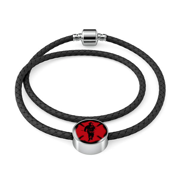 Firefighter - Circular Charm - Leather Bracelet