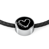 Fish Hook Heart - Circular Charm - Leather Bracelet