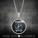 Scorpio - Zodiac Necklace Circular with Curb Chain