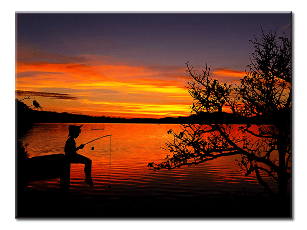 Boy Fishing Sunset - 1 Panel Canvas