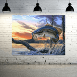 Large Mouth Bass Fishing- 1 Panel Canvas XLarge