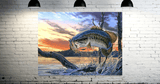 Large Mouth Bass Fishing- 1 Panel Canvas Large