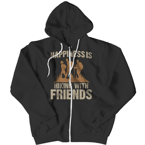 Happiness Is Hiking With Friends Hoodie Black