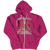 Happiness Is Hiking With Friends Hoodie Pink