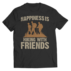 Happiness Is Hiking With Friends T Shirt Black