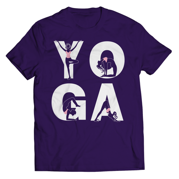 Yoga Positions T Shirt Classic Purple
