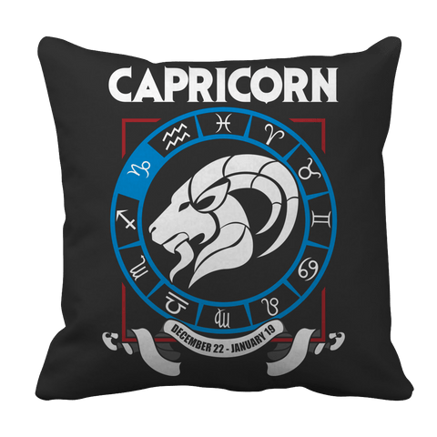 Capricorn Zodiac Pillow Case Black
