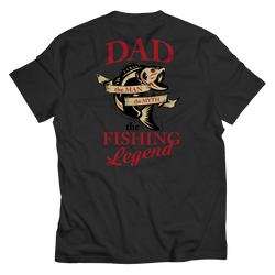 Dad The Man The Myth Fishing Legend - T-Shirt W/ Back Design Black