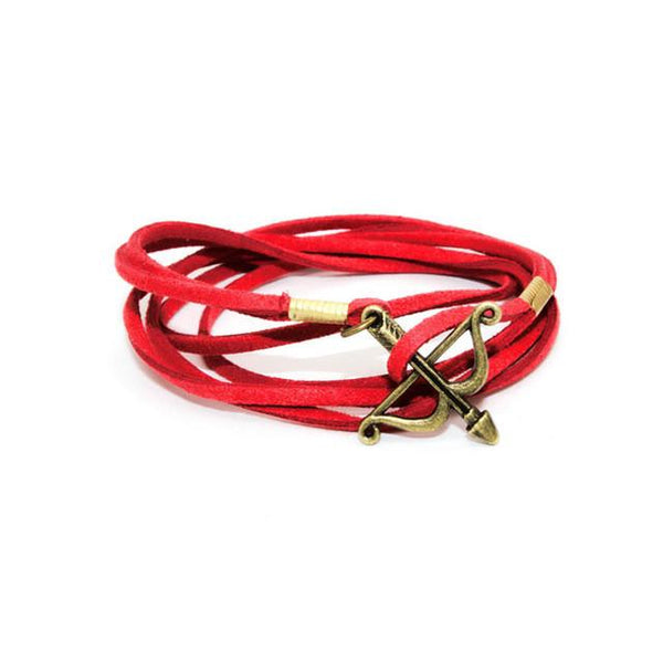 Bow and Arrow Adjustable Multilayer Charm Bracelet Red Brass