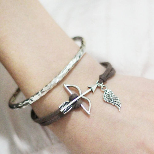 Suede Bow And Arrow and Wing Bracelet