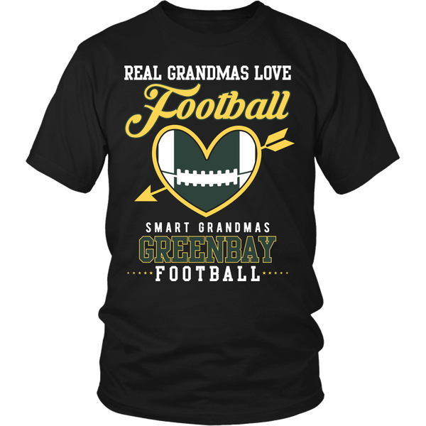 Real Grandmas Love Football, Smart Grandmas Love Green Bay Football - T-Shirt
