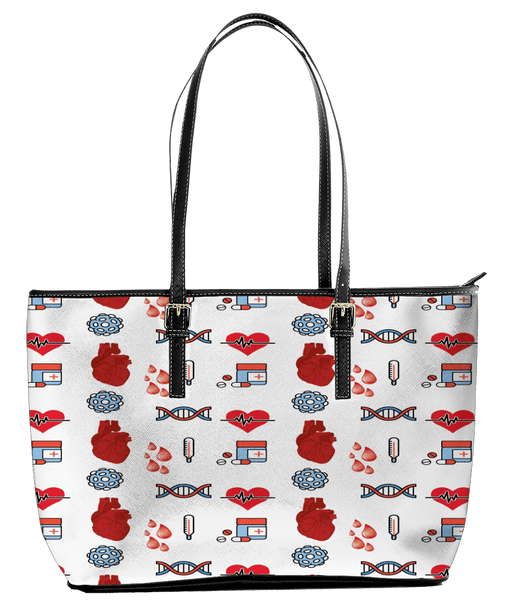 Nurse-Heart-DNA - Large Leather Tote Bag