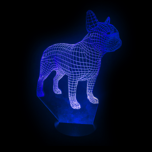 Frenchbulldog LED light Blue