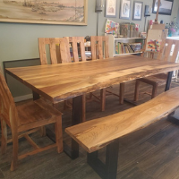 Acacia wood Dining room table - chairs - bench